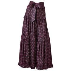 Yves Saint Laurent Rive Gauche Taffeta Polka Dot Tiered Peasant Skirt