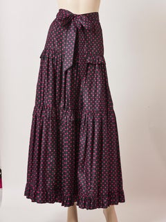 Yves Saint Laurent Rive Gauche Taffeta Polka Dot Tiered Peasant Skirt