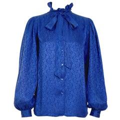 """Yves Saint Laurent """"rive gauche"""" vintage 1970s bleu silk paisley print blouse"""