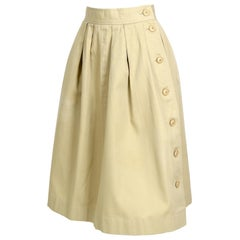 "Yves Saint Laurent ""rive gauche"" vintage 1970s cotton safari skirt"