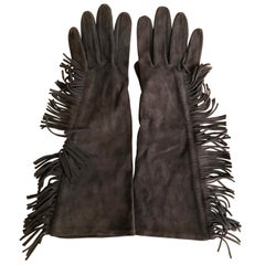 Yves Saint Laurent Rive Gauche Vintage 1970's Fringed Suede Elbow Length Gloves
