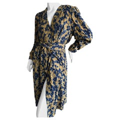 Yves Saint Laurent Rive Gauche Vintage 1970's Silk Leopard Print Dress & Sash