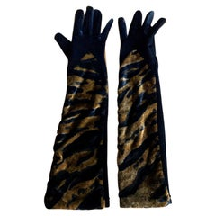 Yves Saint Laurent Rive Gauche Vintage 1970's Velvet Animal Print Gloves