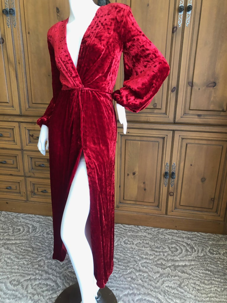 Yves Saint Laurent Rive Gauche Vintage 1980's Red Velvet Low Cut Wrap Dress Size 32, but runs large Bust 38