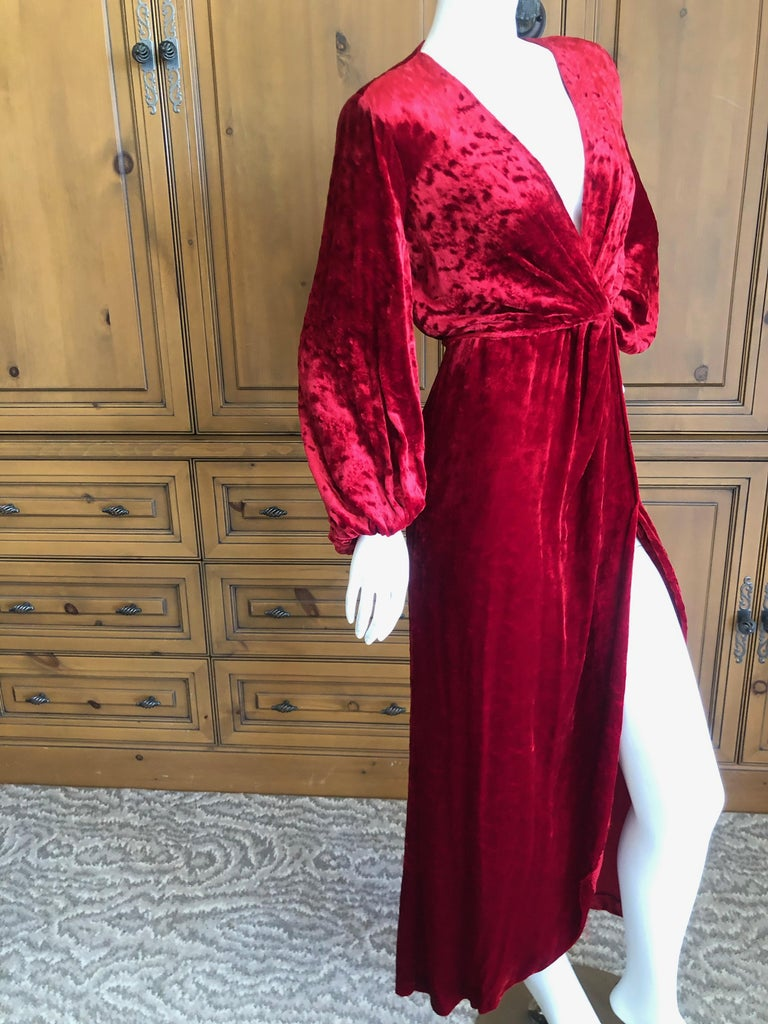 Yves Saint Laurent Rive Gauche Vintage 1980's Red Velvet Low Cut Wrap Dress 3