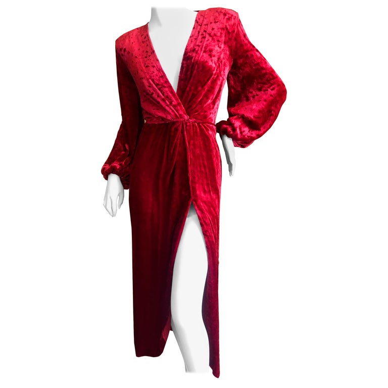 Yves Saint Laurent Rive Gauche Vintage 1980's Red Velvet Low Cut Wrap Dress