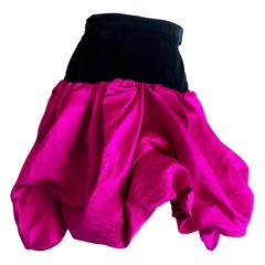 Yves Saint Laurent Rive Gauche Vintage 70's Hot Pink Silk and Velvet Pouf Skirt
