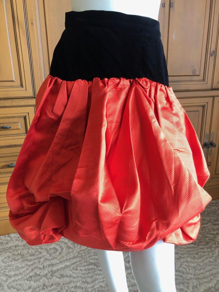 Red Yves Saint Laurent Rive Gauche Vintage 70's Orange Silk and Velvet Pouf Skirt