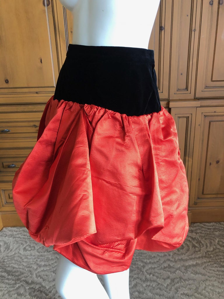 Yves Saint Laurent Rive Gauche Vintage 70's Orange Silk and Velvet Pouf Skirt In Excellent Condition In San Francisco, CA