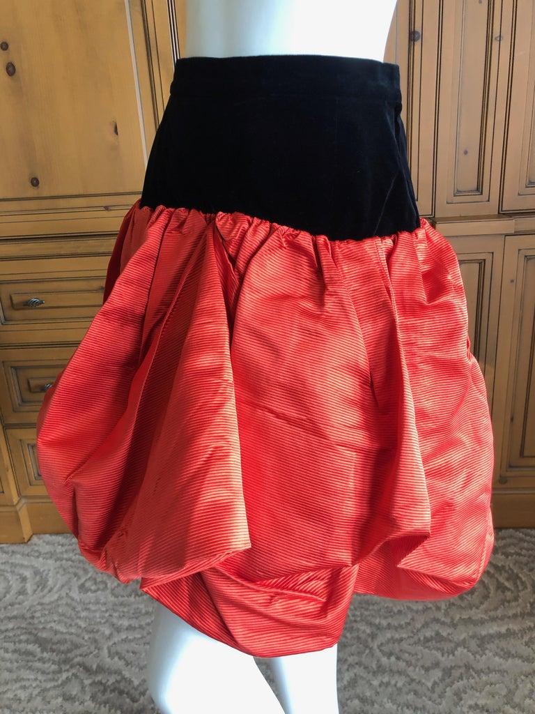 Women's Yves Saint Laurent Rive Gauche Vintage 70's Orange Silk and Velvet Pouf Skirt