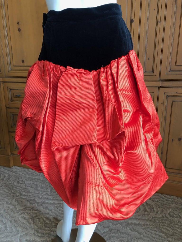Yves Saint Laurent Rive Gauche Vintage 70's Orange Silk and Velvet Pouf Skirt 1