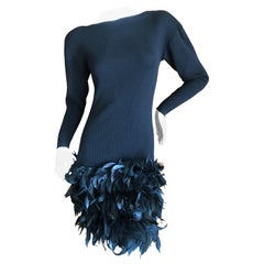 Yves Saint Laurent Rive Gauche Vintage Black Dress w Feathers by Maislon Lamarie