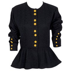 "Yves Saint Laurent ""rive gauche"" vintage black peplum jacket with gold buttons"