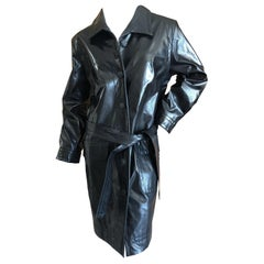 Yves Saint Laurent Rive Gauche Vintage Black Polished Cotton Trench Coat w Belt