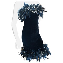 Yves Saint Laurent Rive Gauche Vintage Black Velvet Feather Trim Cocktail Dress