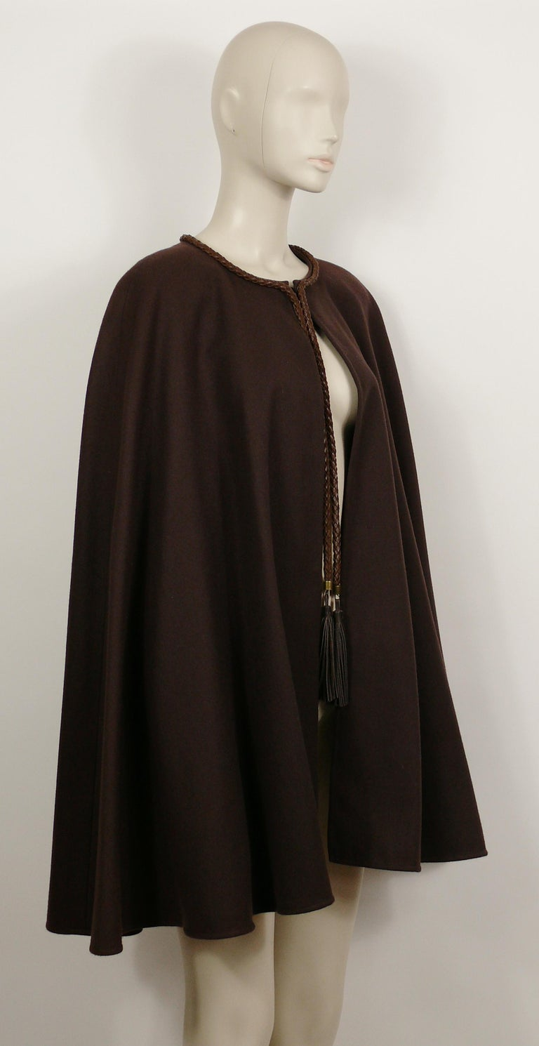 Black Yves Saint Laurent Rive Gauche Vintage Brown Cape with Leather Tassels For Sale