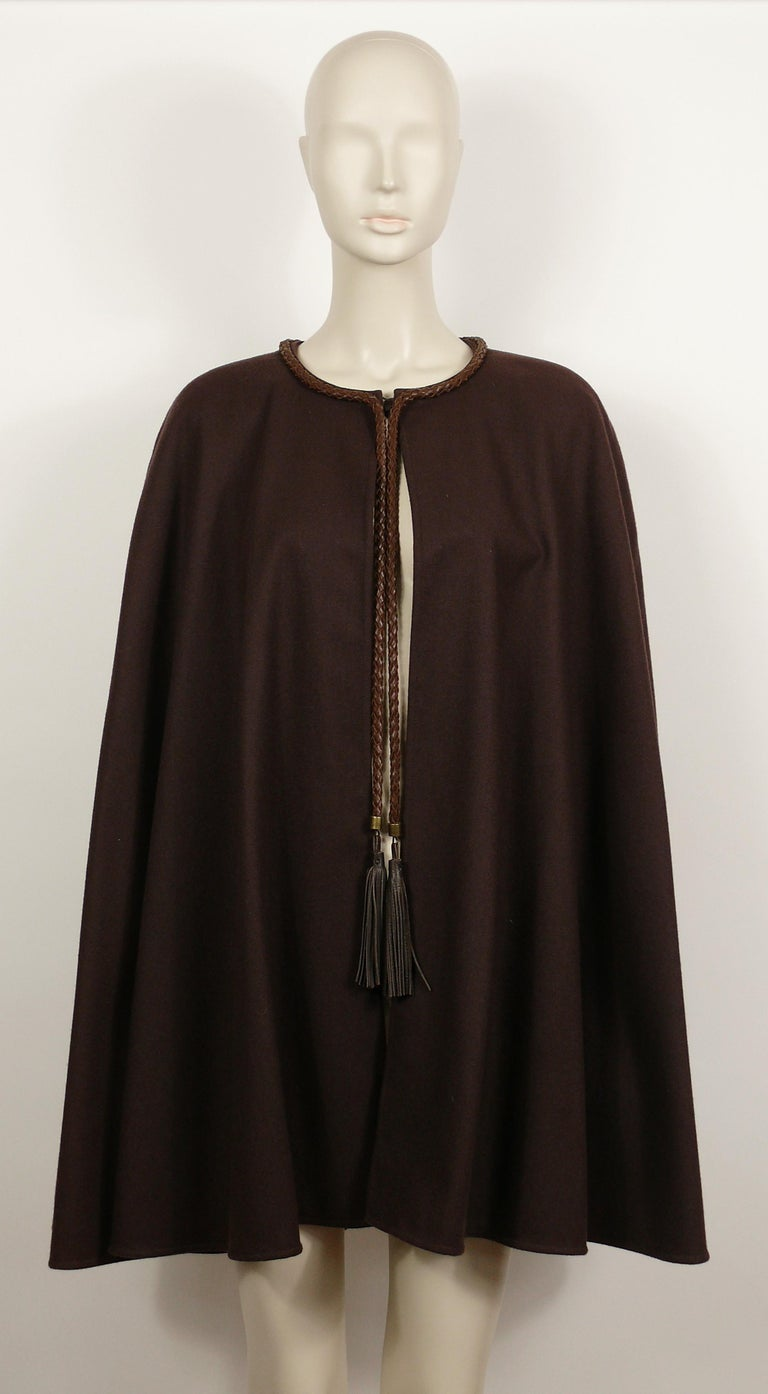 Yves Saint Laurent Rive Gauche Vintage Brown Cape with Leather Tassels In Fair Condition For Sale In Nice, FR