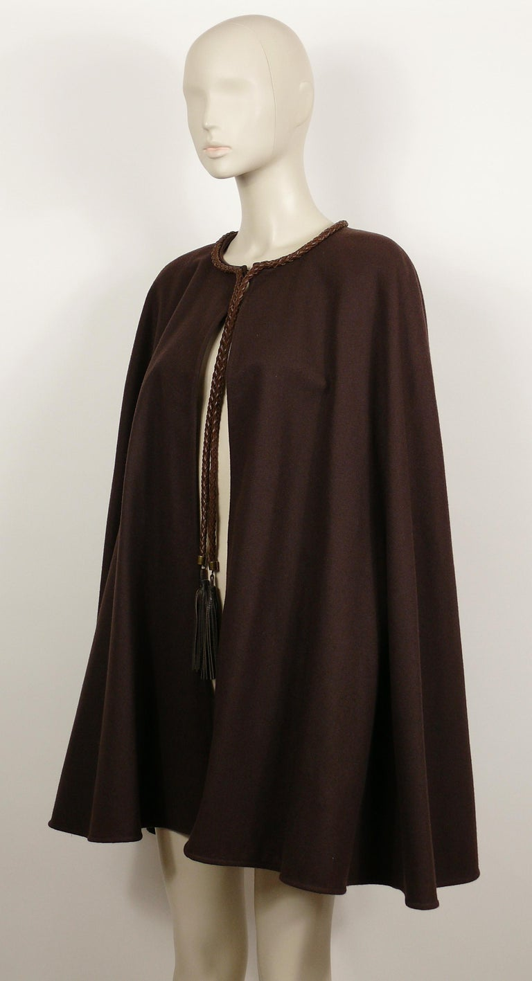 Women's Yves Saint Laurent Rive Gauche Vintage Brown Cape with Leather Tassels For Sale