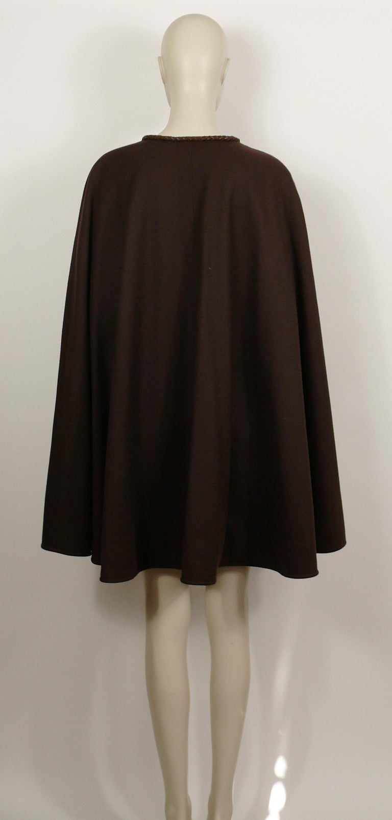 Yves Saint Laurent Rive Gauche Vintage Brown Cape with Leather Tassels For Sale 1