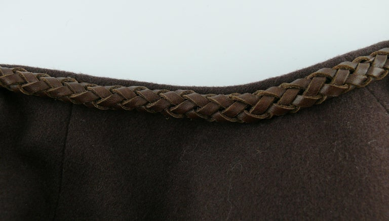 Yves Saint Laurent Rive Gauche Vintage Brown Cape with Leather Tassels For Sale 4