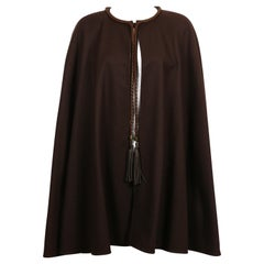 Yves Saint Laurent Rive Gauche Vintage Brown Cape with Leather Tassels