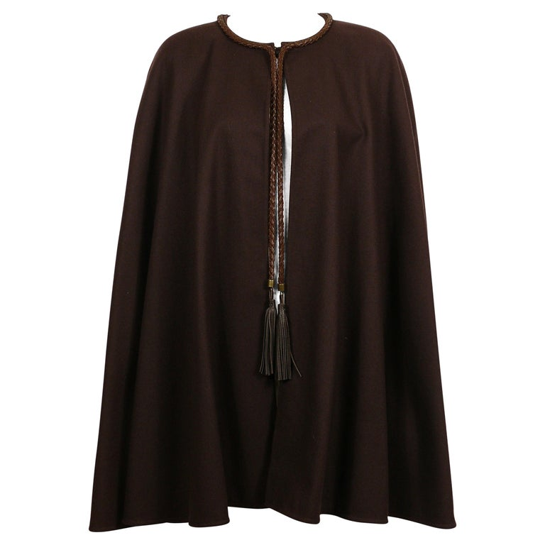 Yves Saint Laurent Rive Gauche Vintage Brown Cape with Leather Tassels For Sale