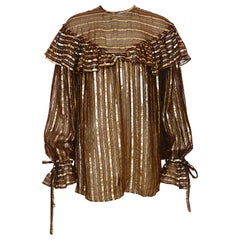 Yves Saint Laurent rive gauche vintage brown silk gold metallic stripes blouse
