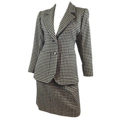 Yves Saint Laurent Rive Gauche Vintage Houndstooth Skirt Suit