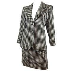 Yves Saint Laurent Rive Gauche Vintage Houndstooth Skirt Suit