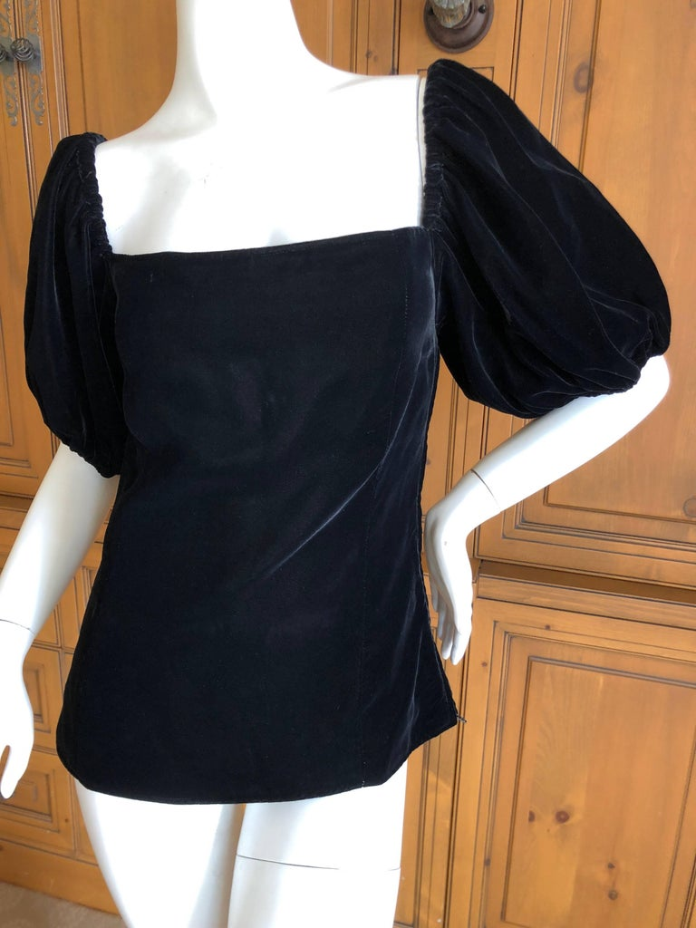 3712f2da18cad6 Yves Saint Laurent Rive Gauche Vintage Off the Shoulder Black Velvet Top  For Sale 2