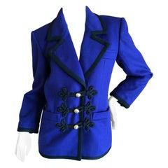 Yves Saint Laurent Rive Gauche Vintage Purple Cord Trim Jacket w Frog Closures