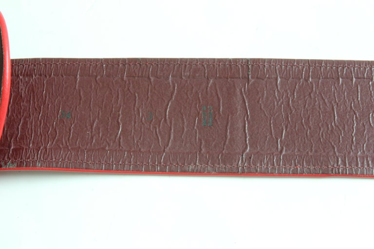 Yves Saint Laurent Rive Gauche Vintage Wide Red Leather Belt with Heart  For Sale 7