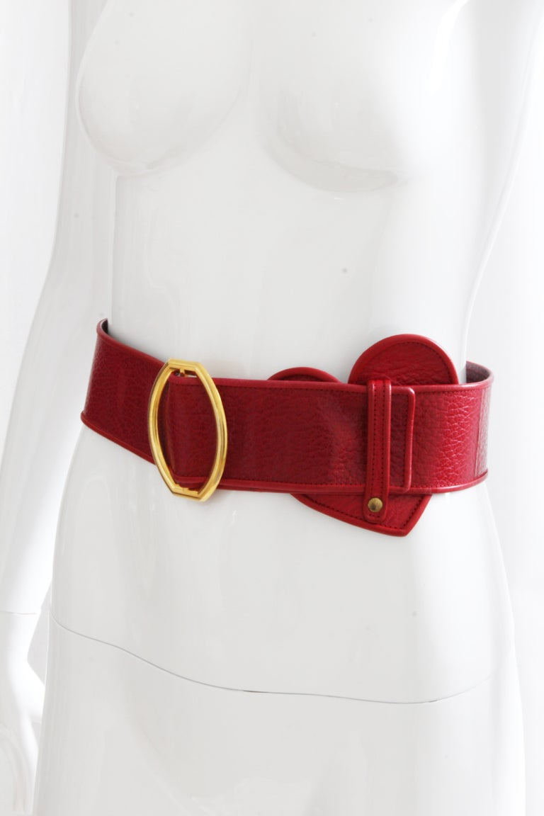 Yves Saint Laurent Rive Gauche Vintage Wide Red Leather Belt with Heart  In Good Condition For Sale In Port Saint Lucie, FL