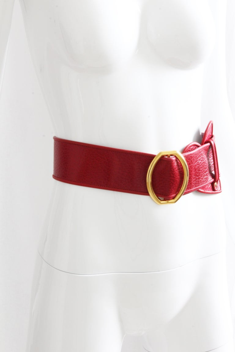 Women's Yves Saint Laurent Rive Gauche Vintage Wide Red Leather Belt with Heart  For Sale