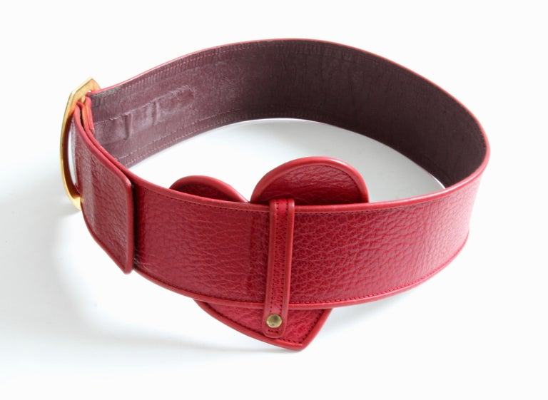 Yves Saint Laurent Rive Gauche Vintage Wide Red Leather Belt with Heart  For Sale 2