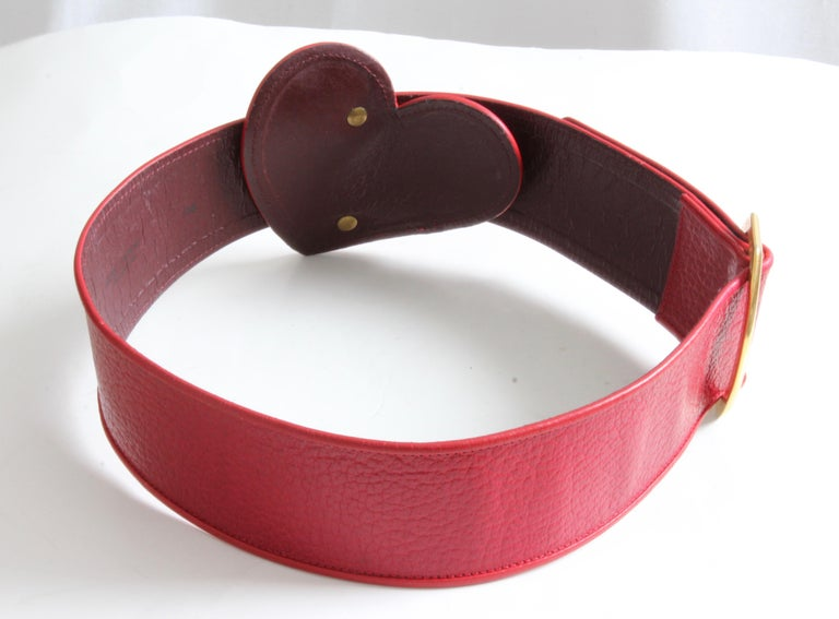 Yves Saint Laurent Rive Gauche Vintage Wide Red Leather Belt with Heart  For Sale 4