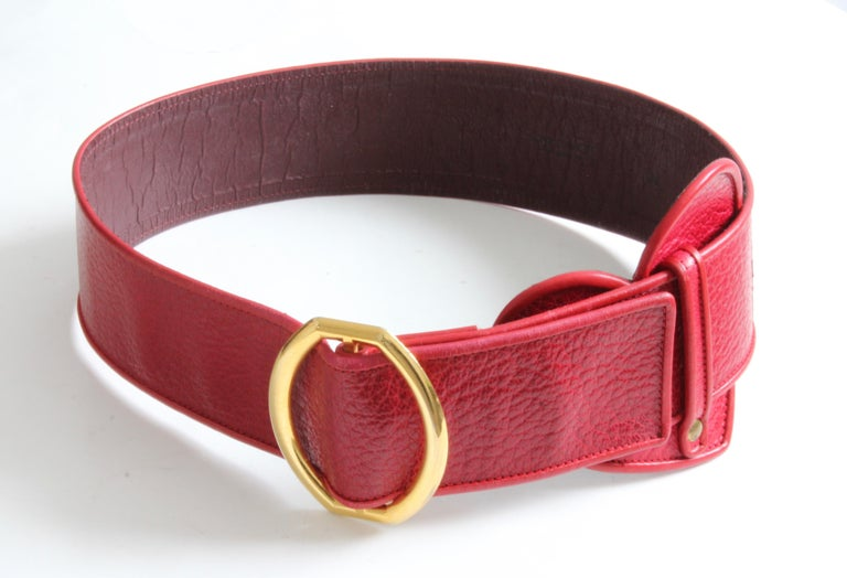 Yves Saint Laurent Rive Gauche Vintage Wide Red Leather Belt with Heart  For Sale 5