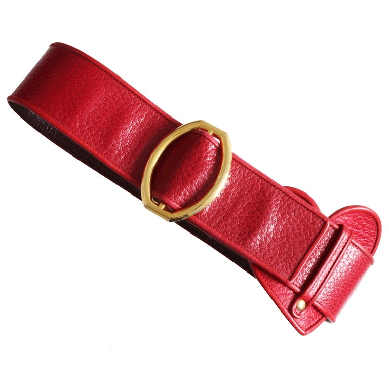 Yves Saint Laurent Rive Gauche Vintage Wide Red Leather Belt with Heart  For Sale