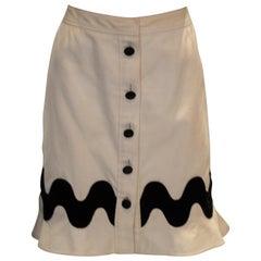 Yves Saint Laurent Rive Gauche White and Black  Skirt