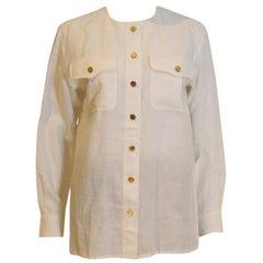 Yves Saint Laurent Rive Gauche White Linen Shirt