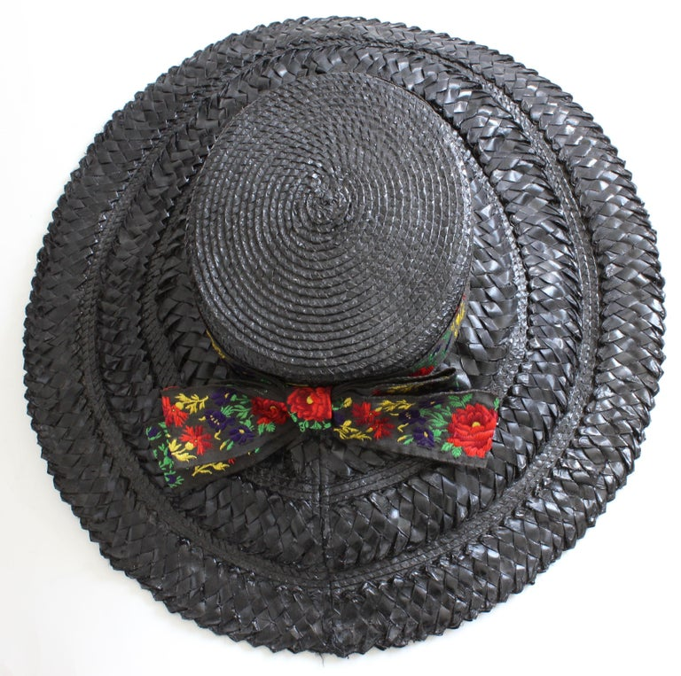 Yves Saint Laurent Rive Gauche Wide Brim Straw Hat with Florals, 1970s For Sale 5