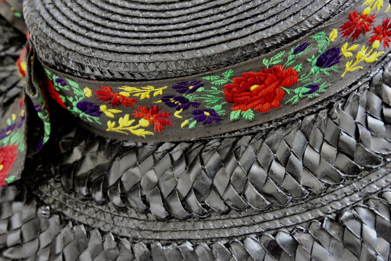 Yves Saint Laurent Rive Gauche Wide Brim Straw Hat with Florals, 1970s For Sale 6