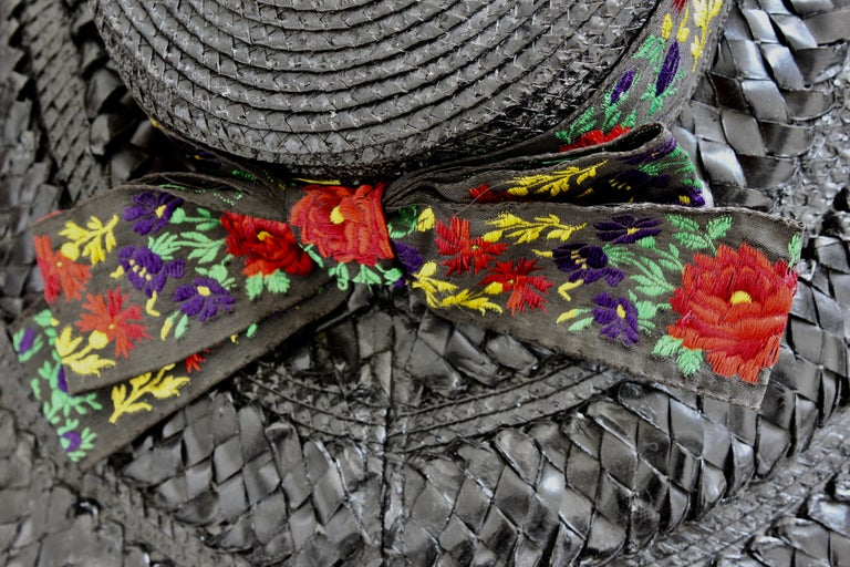 Yves Saint Laurent Rive Gauche Wide Brim Straw Hat with Florals, 1970s For Sale 7