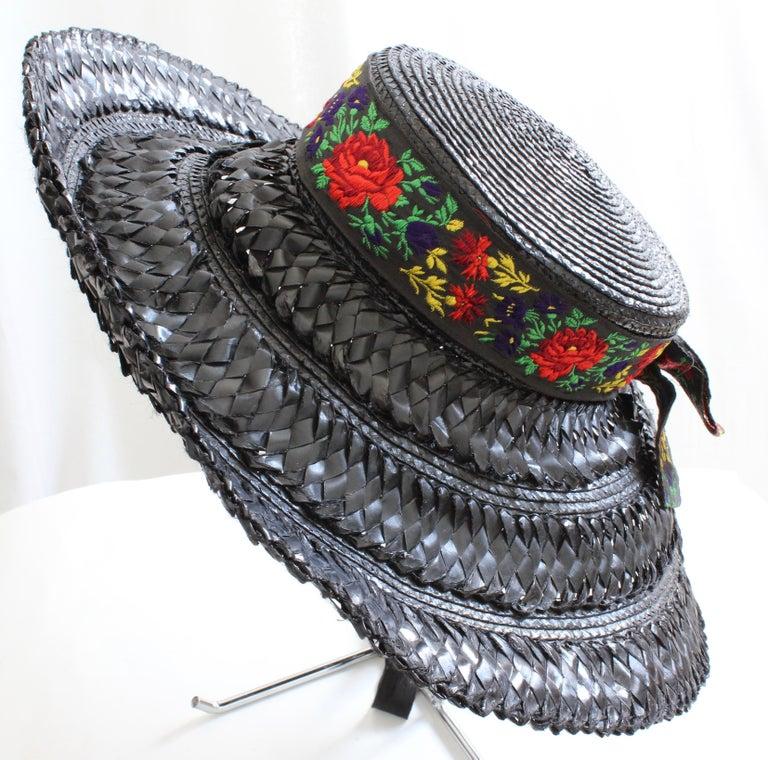 Black Yves Saint Laurent Rive Gauche Wide Brim Straw Hat with Florals, 1970s For Sale