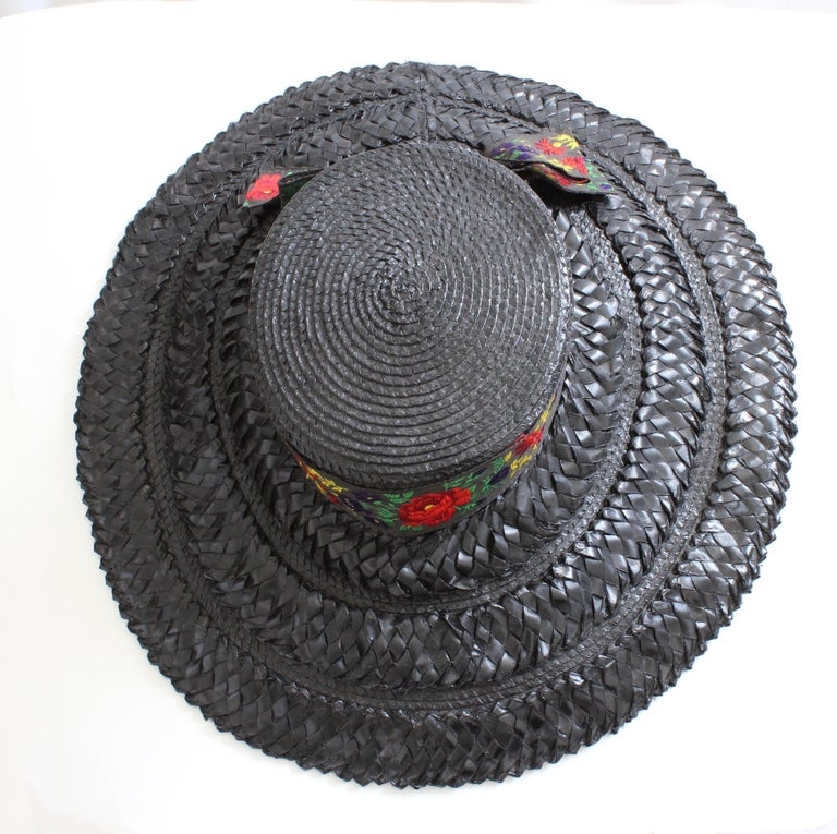 Yves Saint Laurent Rive Gauche Wide Brim Straw Hat with Florals, 1970s In Good Condition For Sale In Port Saint Lucie, FL