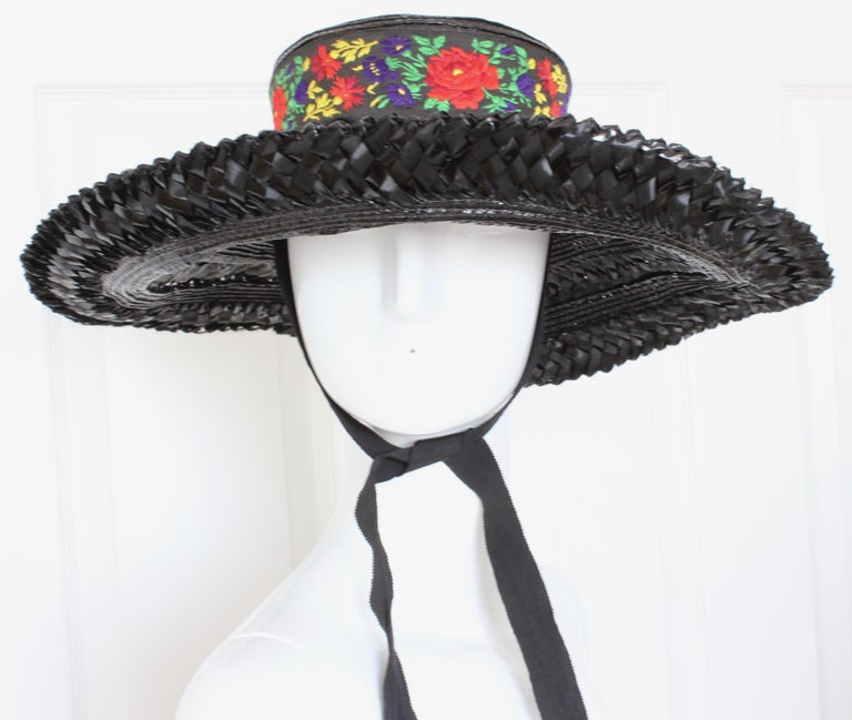 Yves Saint Laurent Rive Gauche Wide Brim Straw Hat with Florals, 1970s For Sale 1