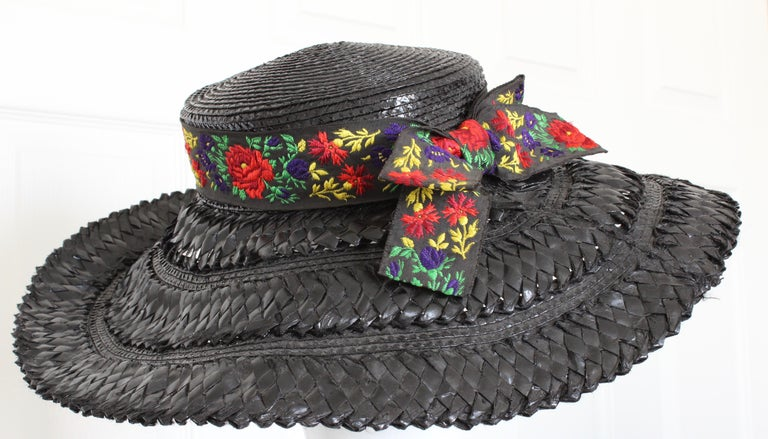 Yves Saint Laurent Rive Gauche Wide Brim Straw Hat with Florals, 1970s For Sale 2