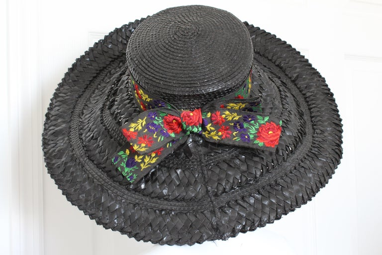 Yves Saint Laurent Rive Gauche Wide Brim Straw Hat with Florals, 1970s For Sale 3