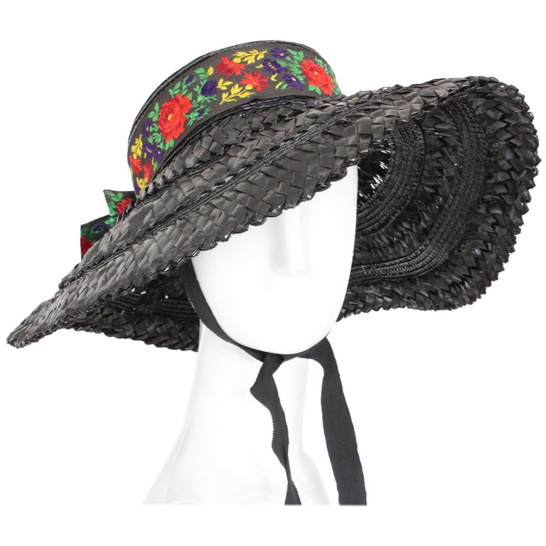 Yves Saint Laurent Rive Gauche Wide Brim Straw Hat with Florals, 1970s For Sale