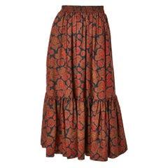 Yves Saint Laurent Rive Gauche Wool Challis Paisley Peasant Skirt